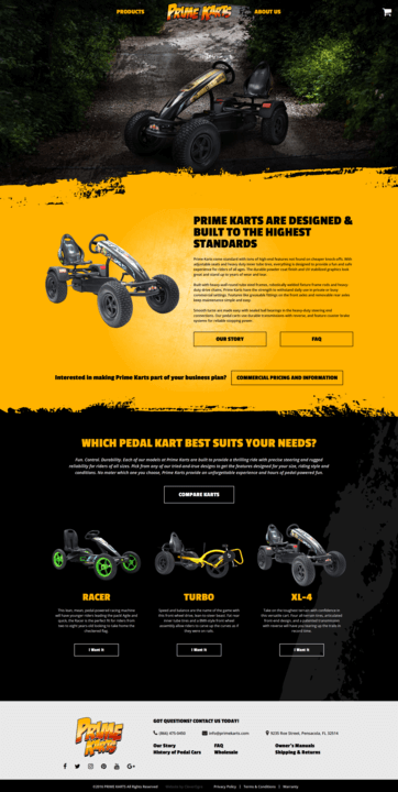 Mockup of Prime Karts website homepage by CleverOgre on desktop computer