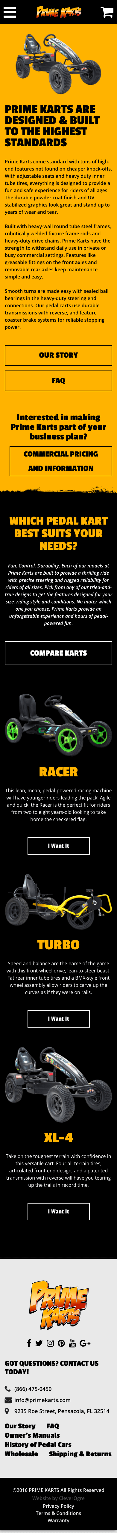 Mockup of Prime Karts website homepage by CleverOgre on mobile device