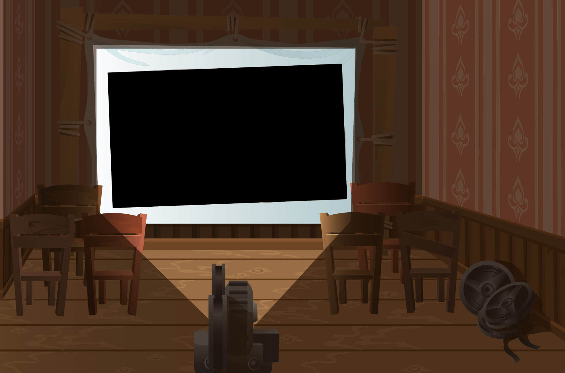 Background graphic of theatre with projector and screen for CleverOgre Easter egg