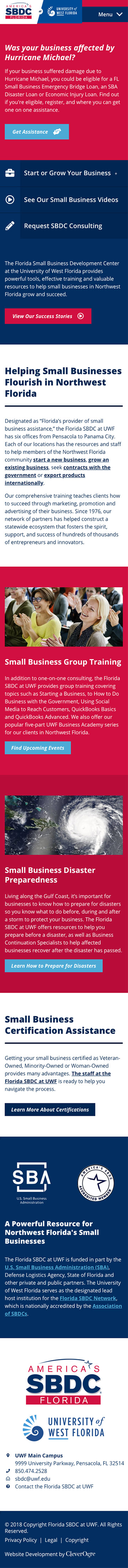 Website developed for SBDC of Florida at UWF by CleverOgre