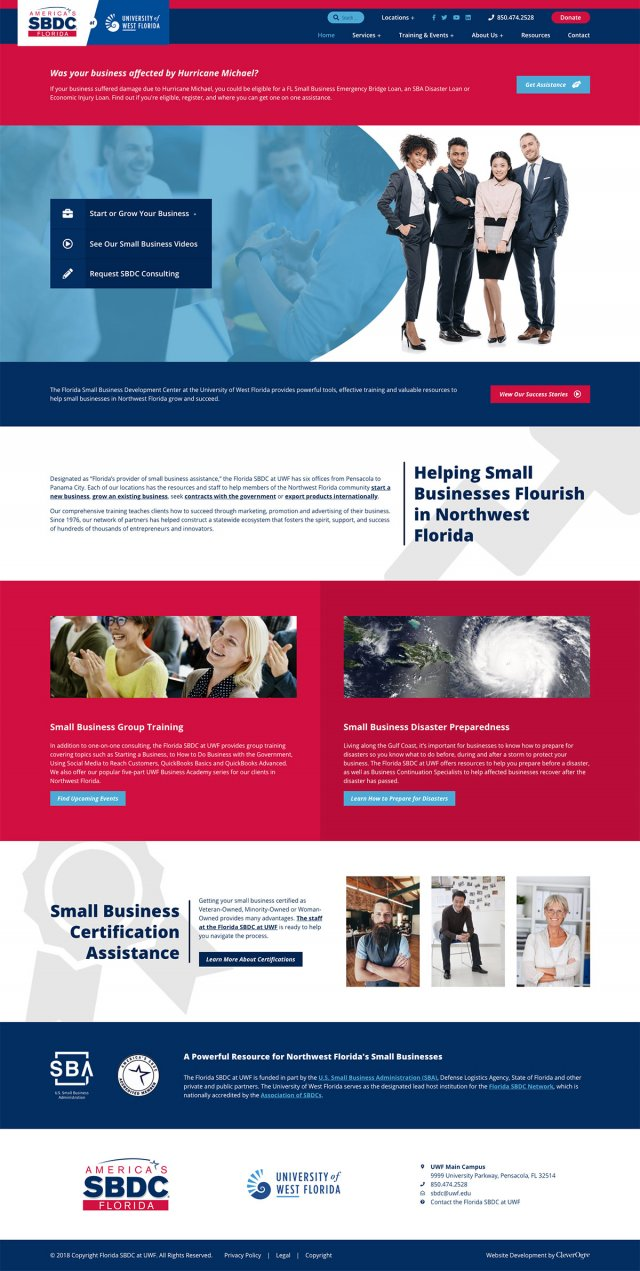 Pensacola website design by CleverOgre for SBDC of Florida at UWF